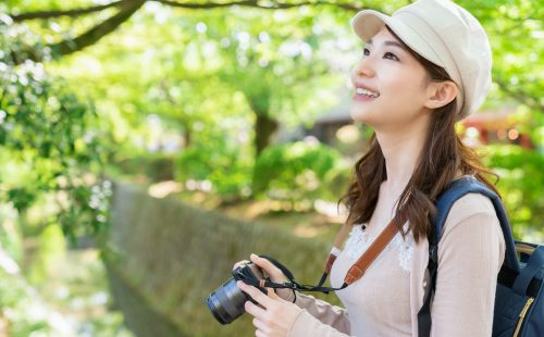 Adobe Stock #294785524 Asian female sightseeing taking photos, Kyoto, Japan