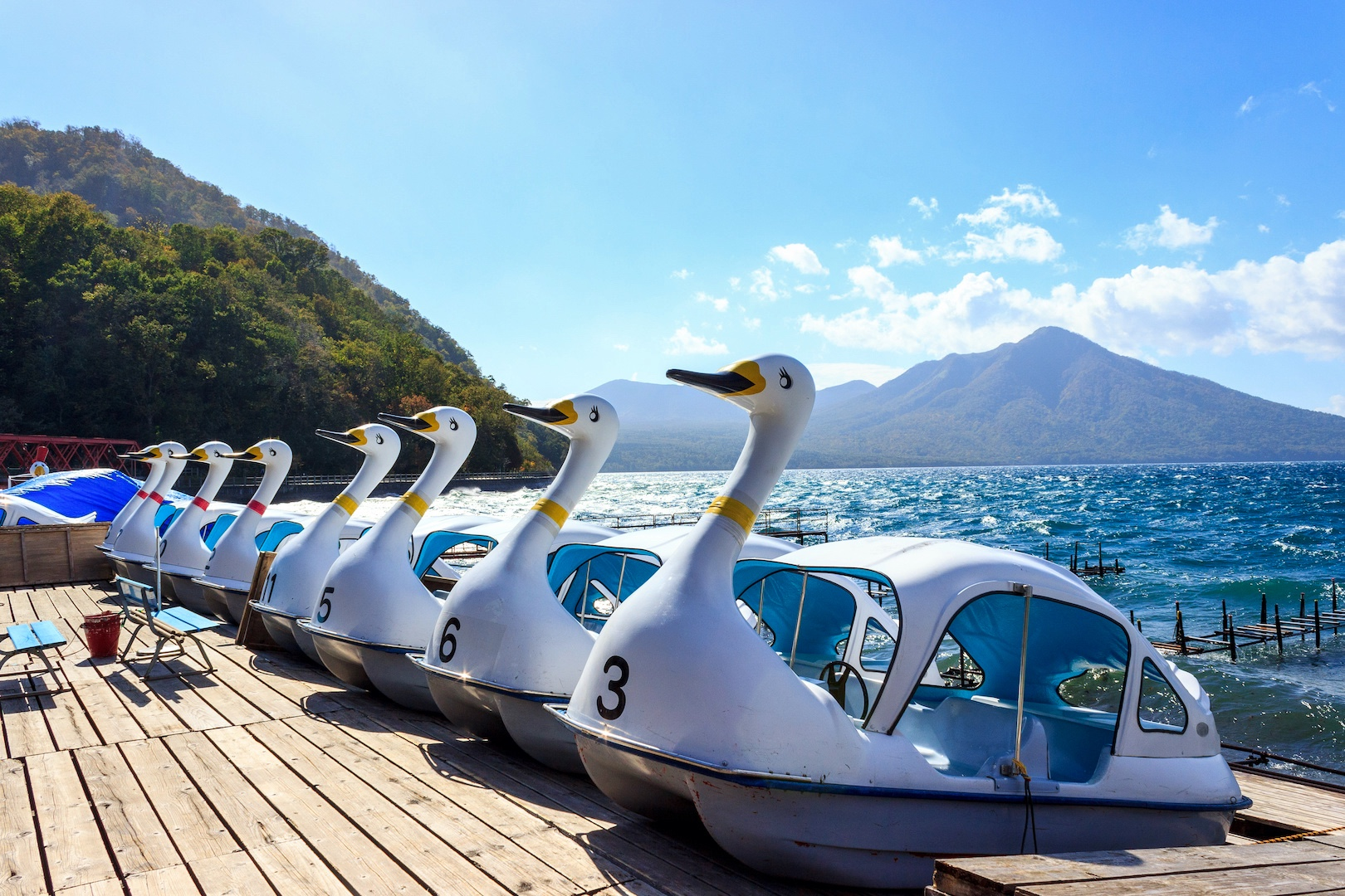 These swan boats at Lake Shikotsu are a popular attraction during the warmer months.
