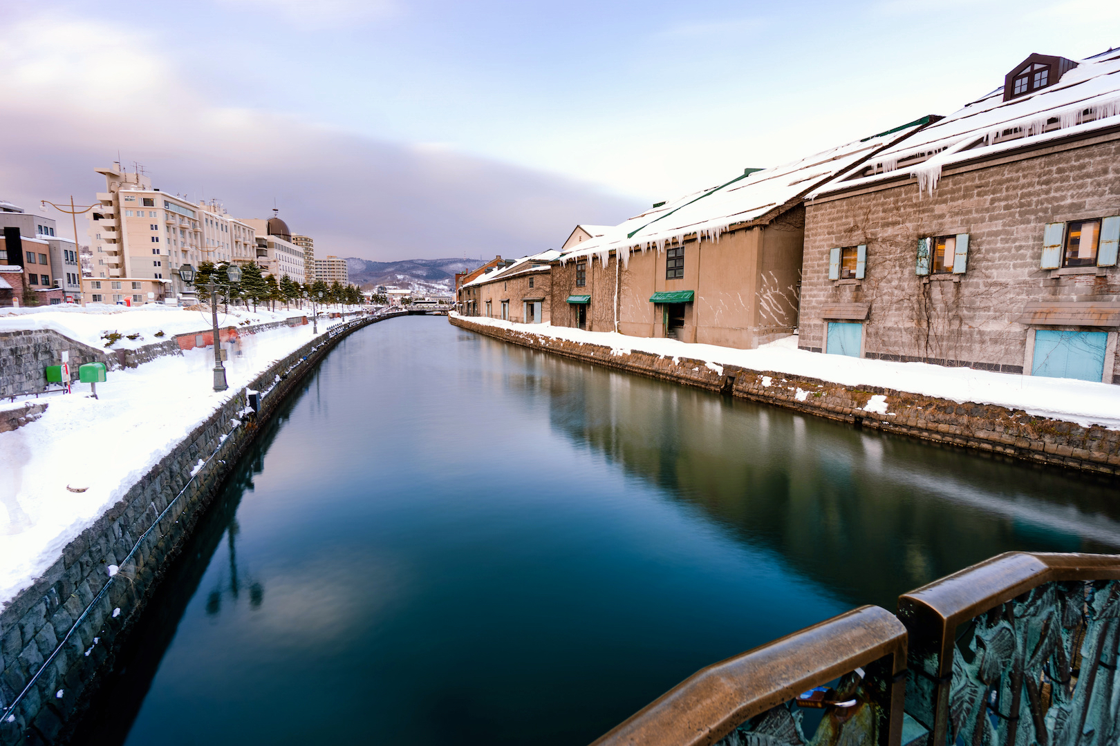 A view of the old warehouses along the banks of Otaru City's canal.
